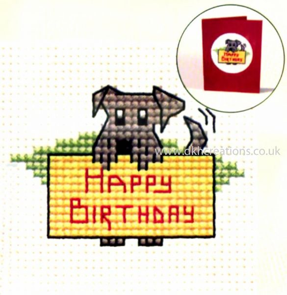 Happy Birthday Dog Card Cross Stitch Kit